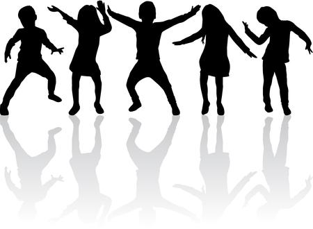 Tanzen Silhouetten von Kindern. Standard-Bild - 55544366