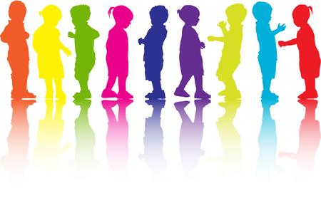 Kinderen silhouet. Stock Illustratie