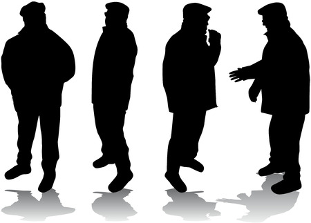 relatives: Senior .Silhouettes of people.