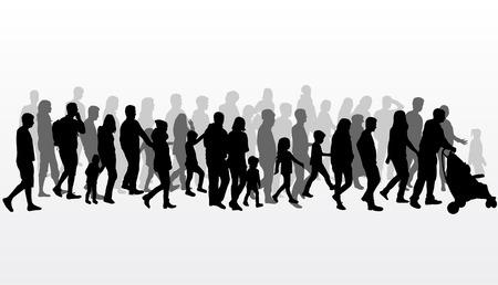 juntos: Grupo de personas. Multitud de personas siluetas.