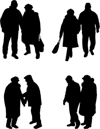 silhouettes: Senior .Silhouettes of people.