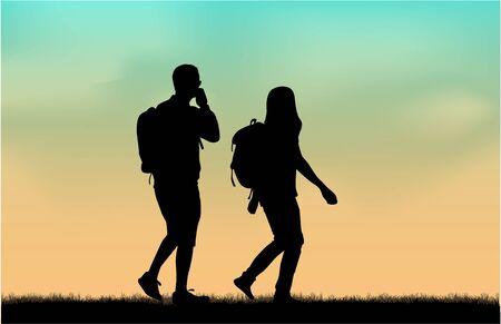 trek: Silhouette people walking. Illustration