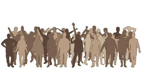 Groupe de personnes. Foule de gens silhouettes.