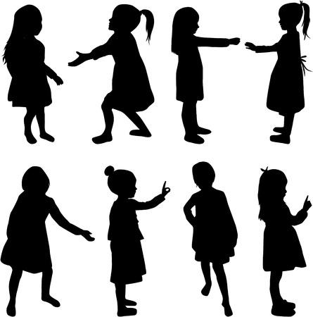 Silhouettes de filles. Banque d'images - 55544883