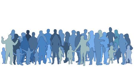 Vector silhouette of family. Çizim