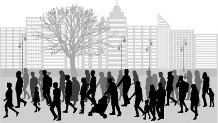 eingang leute: Gruppe von Leuten. Menge von Menschen Silhouetten. Illustration