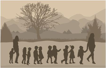 I bambini silhouette in natura.