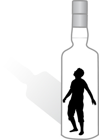 addicted: Silhouette of a man in a bottle.