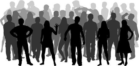 人々 のグループ。人々 のシルエットの群れ。  イラスト・ベクター素材