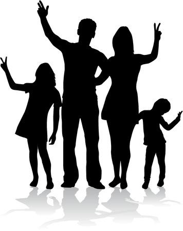 Vector silhouet van de familie.
