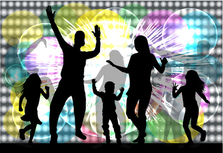Dancing family silhouettes. Illusztráció