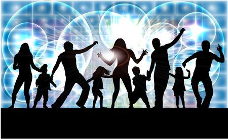 Danse des silhouettes de famille.