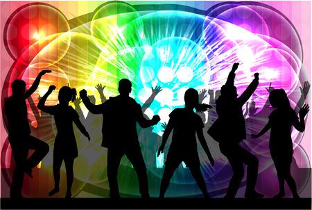 Bailando siluetas personas. Ilustración de vector