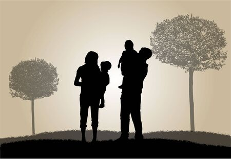 silhouettes: Family silhouettes in nature.