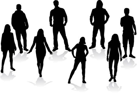 male friends: Group of people silhouettes. Illustration