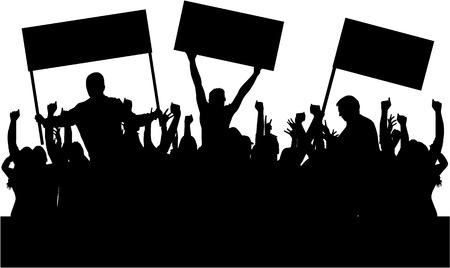Protesta persone folla silhouette. Archivio Fotografico - 59163838