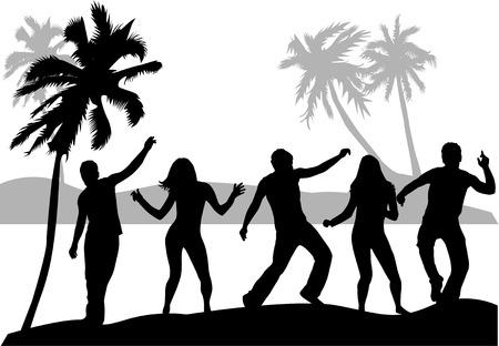 spiaggia: Beach party.People sagome. Vettoriali