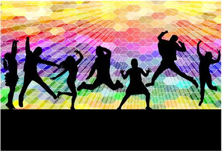 Tanzen Menschen Silhouetten. Zusammenfassung Hintergrund.