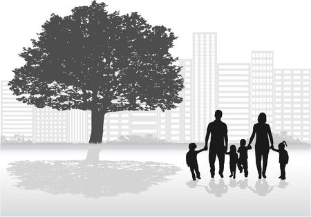 relationships: Family silhouettes in nature.