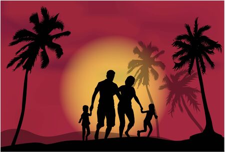 son of man: Family under the palm trees.