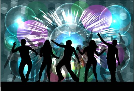 Bailando Siluetas de la gente. Fondo abstracto.