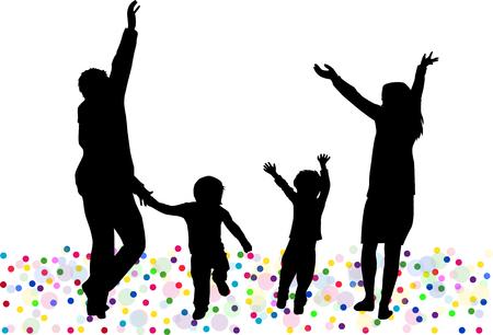 silueta niño: Bailando siluetas de la familia. Vectores
