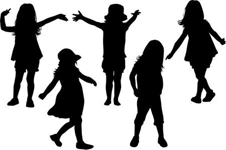 kinder spielen: Silhouetten von Kindern spielen.