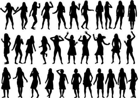 teenage girl: Beautiful women silhouettes. Large collection. Illustration
