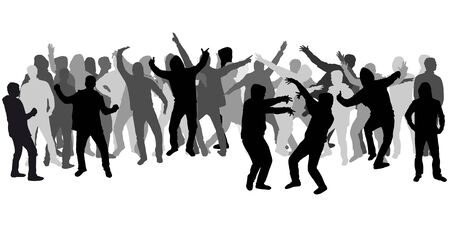 large  group: Dancing people silhouettes. Large group.