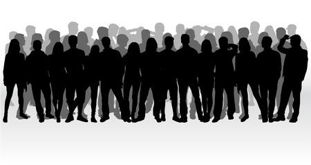Groupe de personnes. Foule de gens silhouettes. Banque d'images - 59164158