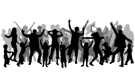 silhouettes: Dancing people silhouettes. Family silhouettes. Illustration