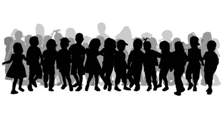 large  group: Silhouettes of children playing. Large group.