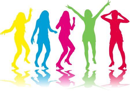 Beautiful women dancing.Colored silhouettes.