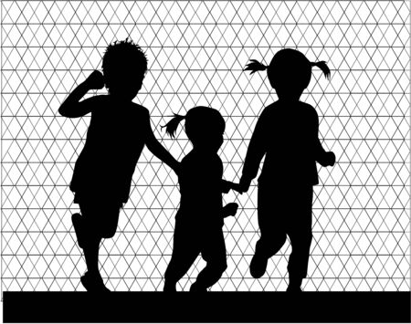run: Children silhouettes. Abstract background. Illustration