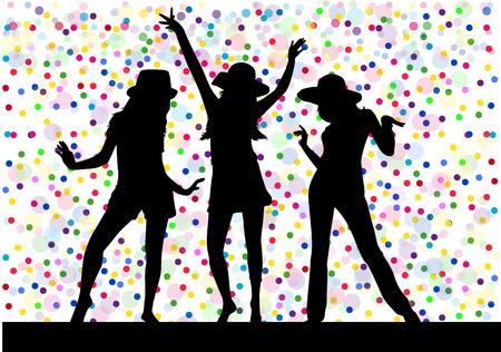 Beautiful women dancing. Background dots.
