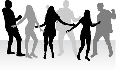 male friends: Dancing people silhouettes.