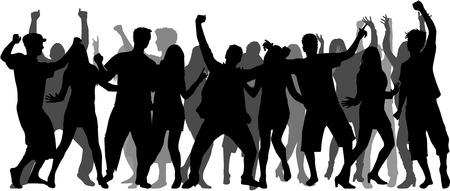 bailarines silueta: Bailando Siluetas de la gente. Grupo grande. Vectores