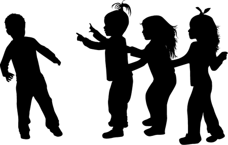 person silhouette: Silhouettes of children playing.