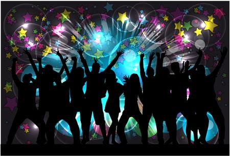 gente bailando: Bailando Siluetas de la gente. Fondo abstracto.