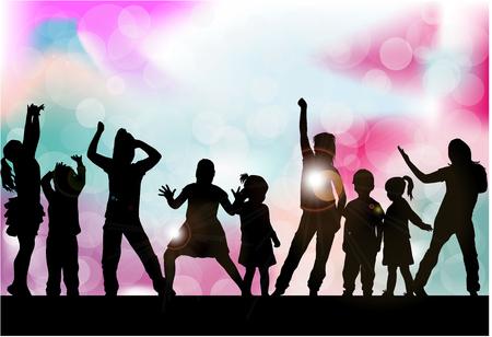 Siluetas de niños jugando. Foto de archivo - 62687916