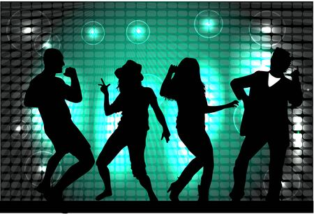 gente che balla: Dancing people silhouettes. Abstract background. Vettoriali