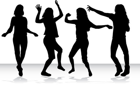 pose: Silhouettes of a woman. Illustration