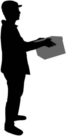 moving office: Silhouette of a man with box.