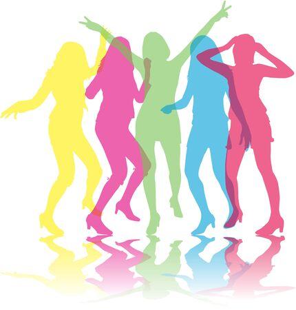 siluetas de mujeres: Las mujeres hermosas dancing.Colored siluetas.