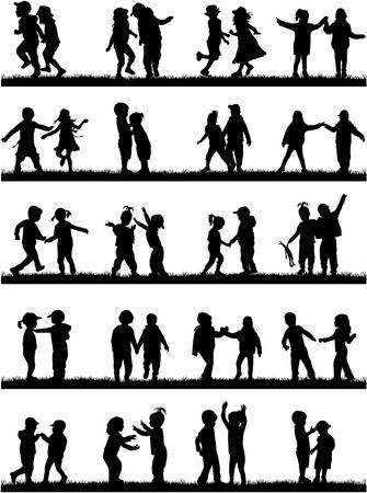 silhouettes of children: Silhouettes of children playing. Large group.