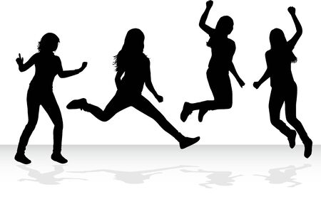 exaltation: Jumping girls silhouette - vector