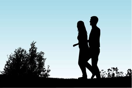 woman walk: Young couple on a walk. Illustration