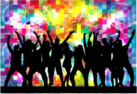 teenage: Dancing people silhouettes. Abstract background. Illustration