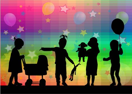 prams: Vector illustration of children. Abstract background.