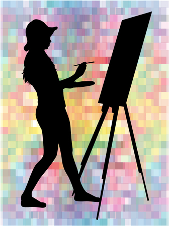 happiness or success: Artist painted the picture on an easel.